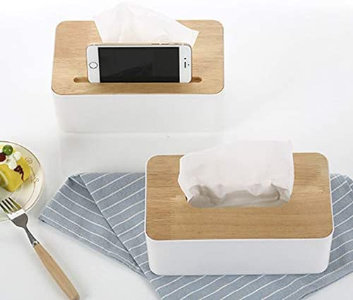 LYNN Tissue Holder Box with Wooden Cover Home Rectangular Facial Tissue Cases Office