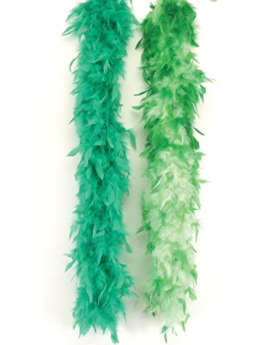 (Loftus International Long Fluffy Feather Color Tips Boa Green Light Green 72
