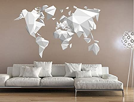 Wall tattoos stickers world map origami 191 x 120 cm amazon wall tattoos stickers world map origami 191 x 120 cm gumiabroncs Image collections