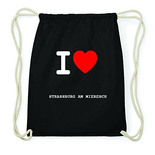 JOllify STRASSBURG AM MIERESCH Hipster Turnbeutel Tasche Rucksack aus Baumwolle - Farbe: schwarz Design: I love- Ich liebe