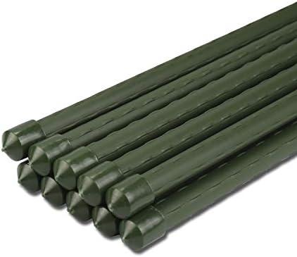 Sekey Pflanzenstäbe Gartenpflanze Unterstützung beim Wachsen von Pflanzen, Kunststoff beschichtetes Stahlrohr 11mm Durchmesser. 90 cm Lange Packung 10