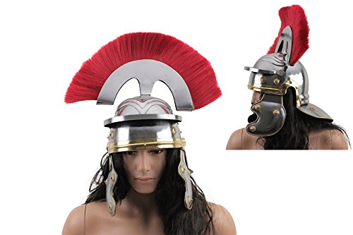 NAUTICALMART Imperial Roman Helmet W/Brass Accents and Red Plume- Armor -