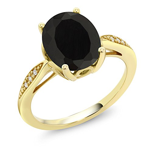 (Gem Stone King 14K Yellow Gold Black Onyx and Diamond Women's Ring 2.54 Ct Oval (Size 7))