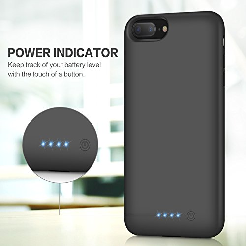 iPhone 8 Plus 7 Plus Battery Case, iPosible 8500mAh Rechargeable Battery Pack Charging Case for iPhone 7 Plus/8Plus (5.5 inch) Extended Battery Power Bank Portable Charger Case Ultra Slim-Black by iPosible (Image #2)