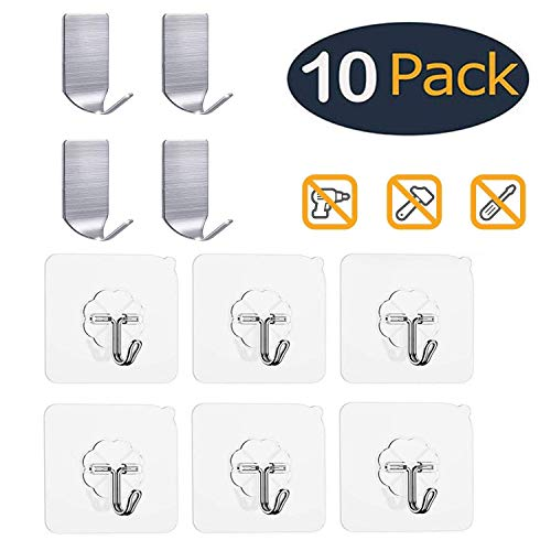 FOWOKAW Adhesive Hooks Heavy Duty 15(Max),Waterproof and Oilproof Reusable Wall Seamless Hooks for Bathroom & Kitchen