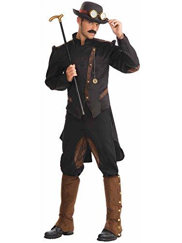 Men's Steampunk Gentlemen Costume, Brown/Black, One Size