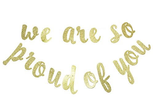 Firefairy We are So Proud of You Gold Glitter Banner- Graduation Banner-Graduation/Grad Party (Graduate Banner)