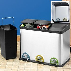 Beau Organize It All Hands Free, Stainless Triple Bin Recycler