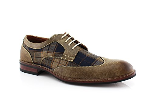 Ferro Aldo Julian MFA19266APL Mens Casual Plaid Wing Tip Perforated Mid -Top Brogue Oxford Dress Shoes - Brown, Size 12