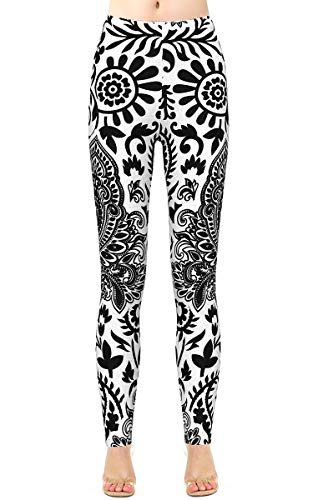 Alaroo Womens Paisley Printed Pants Black and White Pattern Brushed Stretchy Leggings Plus Size ()