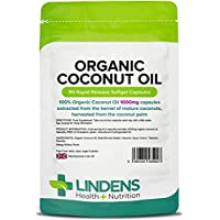 Lindens Organic Coconut Oil 1000mg Capsules | 90 Pack | Source of Medium-Chain Fatty acids (MCTs) from 100% Organic Coconut Oil