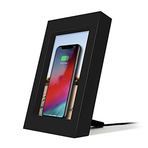 Twelve South Powerpic | Picture Frame Stand with Integrated 10W Qi Charger for iPhone/Wireless Charging Smartphones (Black)
