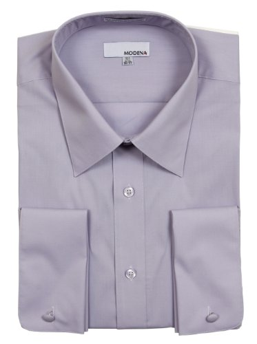 Modena Mens Solid Lavender French Cuff Dress Shirt - Size 16 ()