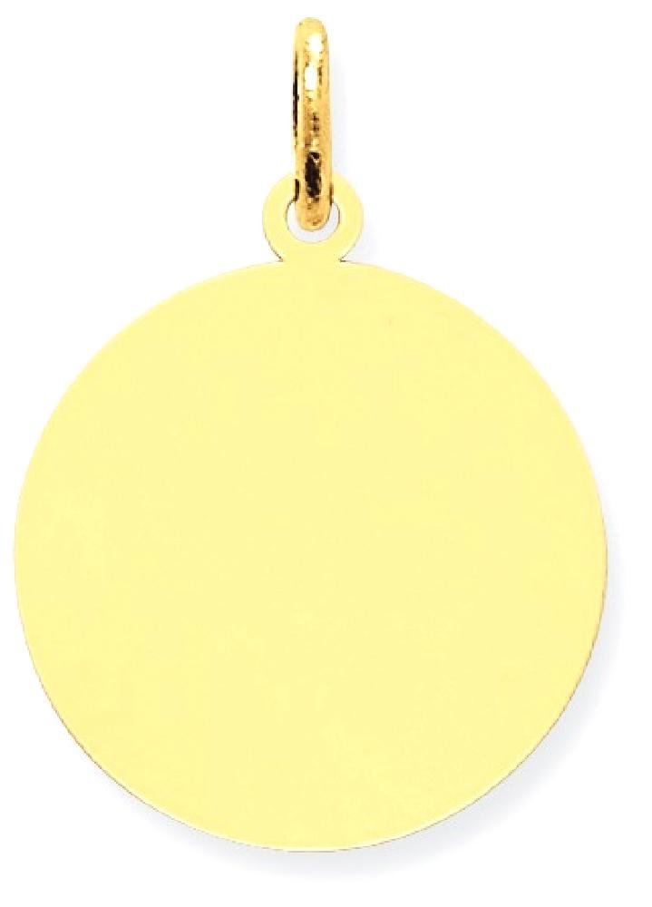 IceCarats 14k Yellow Gold Round Disc Pendant Charm Necklace Engravable Plain by ICE CARATS