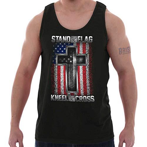 Stand Flag Kneel Cross Christian American Tank Top ()
