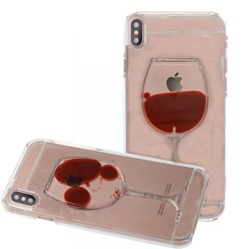 iphone X Liquid Case,3D Red Wine Glass Liquid Glitter Sexy Lip Diamond Goblet Floating Bling Luxury Handmade Rhinestones Crystal Clear Case for Apple iphone X (Red Wine)