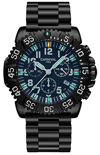 Men's Outdoor Military Tritium Super Bright Self Luminous Quartz Watch (A6-6 Hands Multifunction Stainless Steel White)