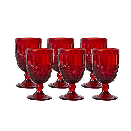 Colored Glass Goblet Vintage - Pressed Pattern Wine Glass Wedding Goblet - 8.5 Ounce (Red) ()