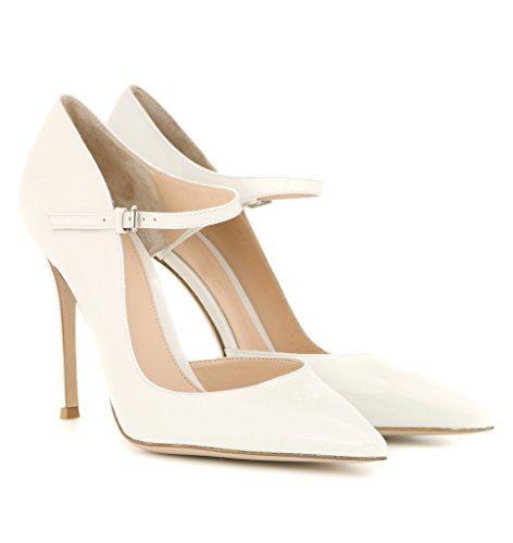 Kolnoo Damen Dorsay High Heel Pumps Mary Janes Silber Schnalle Damenschuhe Große Größe Weiß