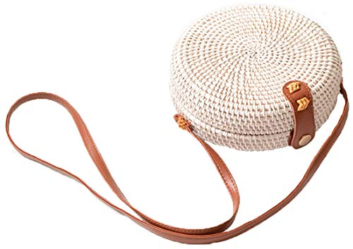 (Handwoven Round Rattan Bag Shoulder Leather Straps Natural Chic Hand Gyryp (Leather buttons(small mini white)