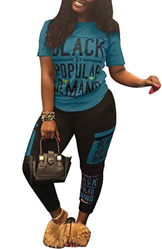 Womens Sexy 2 Piece Sports Outfit Tracksuit Set Shirt Bodycon Pants Joggers Clubwear Sportswear Set Blue -