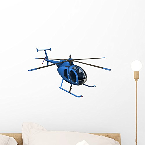 Helicopter Graphic - Wallmonkeys Blue Helicopter Wall Decal Peel and Stick Graphic WM355654 (18 in W x 14 in H)