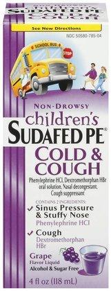 Children's Sudafed Pe Cold & Cough Non-Drowsy Liquid-Grape-4 ounces (Quantity of 5) (Drowsy Non Sudafed)