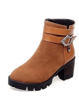 xzz/de zapatos de mujer forro polar grueso talón moda botas/punta redonda botas