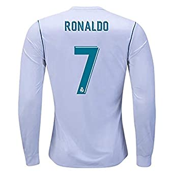 b873784897c Real Madrid Ronaldo 7 Home 2017-2018 Season Long Sleeve Soccer Jersey Color  White Size