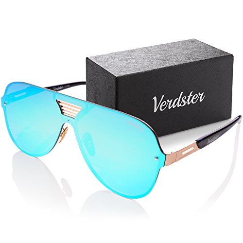Verdster Oversized Mirrored Sunglasses For Men Custom TourDePro Lenses - Accessories Case - UV400 Protection - Oversized Shades (Adults/Large)