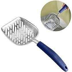 UEETEK Pet Kitty Dog Cat Litter Scooper Metal Pet Cat Poop Shovel with Long Handle Blue