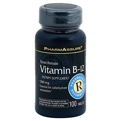 PharmAssure Vitamin B-12, Timed-Release, 2000 mcg, Tablets, 100 tablets