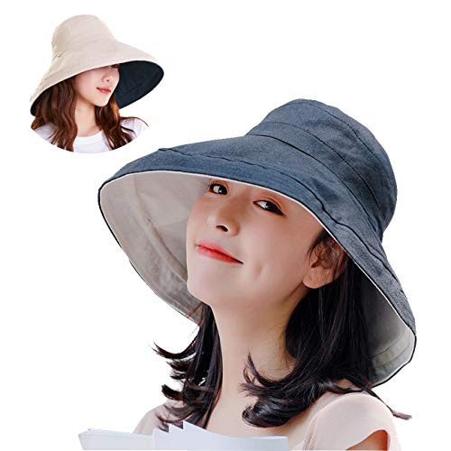 (Maylisacc Double-Sided Bucket Hats for Women with Chin Cord Sun Protection Safari Hats Navy)