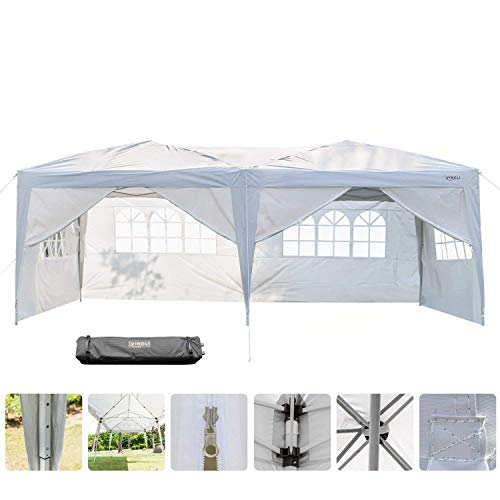 Foldable Gazebo (VINGLI Heavy Duty 10'x20' Ez Pop Up Canopy Tent with 6 Removable Sidewalls Panels,Folding Instant Wedding Party Outdoor Commercial Event Gazebo Pavilion W/Portable Rolling Carrying Bag,White)