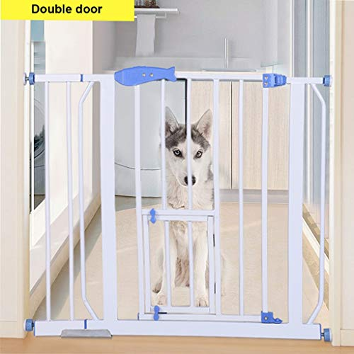 JHFUH Pet Dog Gate Door, Safety Gates Baby Stair Fence Barrier Pet Dog Gate Door Ramp Guardrail Isolation, with Small Door for 70-99cm Installation Size