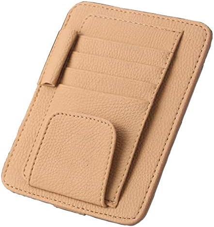 ManLJZ Porta Oggetti in Ecopelle per Auto con 7 Tasche per Carte di Credito,Clip per Biglietti da Visita per Occhiali da Sole Auto con Visiera Automatica