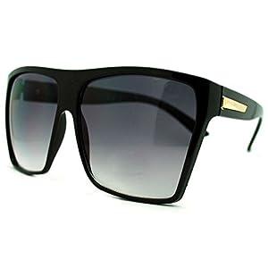 Large Oversized Retro Fashion Square Flat Top Sunglasses (Black-Gold)