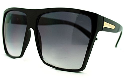 Large Oversized Retro Fashion Square Flat Top Sunglasses (Black-Gold)