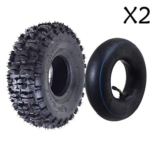 WPHMOTO 2PSC 4.10/3.50-4 Tire and Inner Tube Set for Garden Rototiller Snow Blower Go Cart Kid ATV