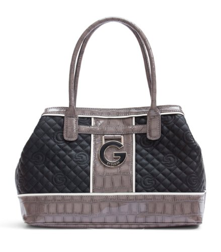 G by GUESS Beverlee Quilted Logo Tote, BLACK, Bags Central