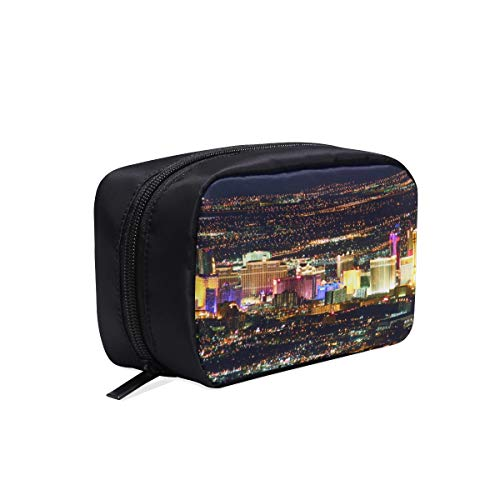 (Las Vegas Avenue Nevada Usa Night Portable Travel Makeup Cosmetic Bags Organizer Multifunction Case Small Toiletry Bags For Women And Men Brushes Case )