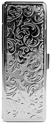 Boxed Travel Lipstick Case With Mirror (Silver Victorian Print)