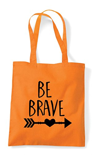 Orange Shopper Bag Tote Be Brave Statement nYzqPPTC