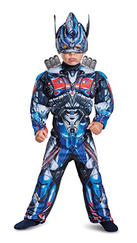 Boy Transformer Costume (Disguise Optimus Prime Movie Toddler Muscle Costume, Blue, Medium (3T-4T))