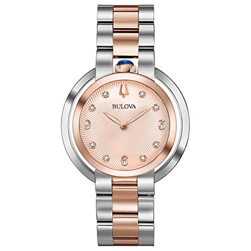 - Bulova Rubaiyat Rose Gold Dial Stainless Steel Ladies Watch 98P174