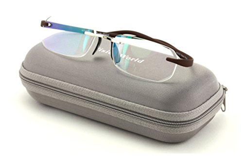 V.W.E Rectangular Rimless Memory Flex Temple Reading Glasses With Anti-reflective AR Coating (Brown, - Glasses Temple Wide