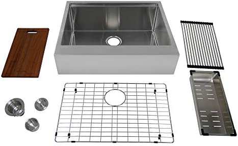 Auric Sinks 27 Retro-Fit Farmhouse Flat Front Apron Ledge Single Bowl Stainless Steel Kitchen Sink, SFAL-16-27-retro SGL COMBO