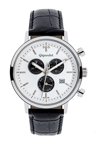 Gigandet Men's/Women's Quartz Watch Classico Chronograph Analog Leather Strap Silver Black G6-002