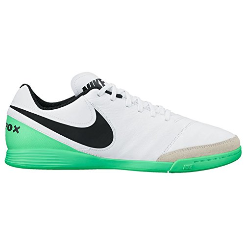 Nike - TiempoX Genio II Leather IC - Scarpe Calcetto Indoor - White/Black-Electro Green - 819215 103
