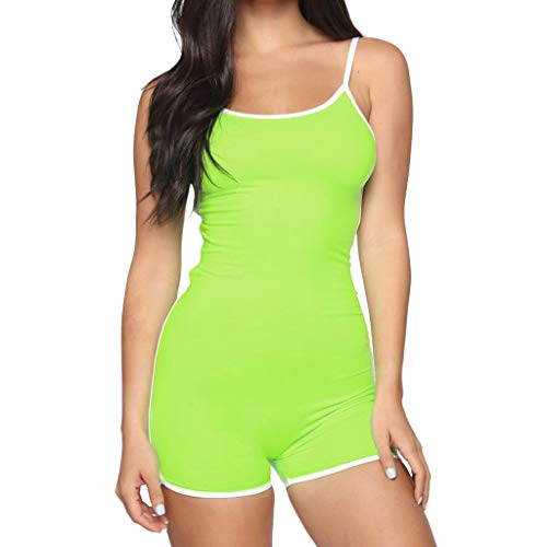 (QIQIU Womens Solid Sleeveless Straps Playsuit Sexy Bodycon Sport Slim Fit Halter Short Summer Jumpsuit Playsuit Green)